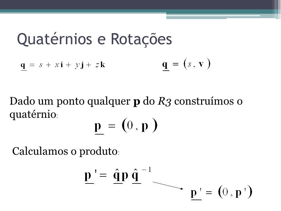 Quatérnios e Rotações Dado um ponto qualquer p do R3 construímos o quatérnio : Calculamos o produto :