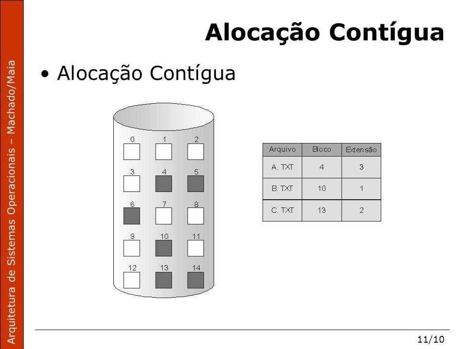 Arquitetura de Sistemas Operacionais – Machado/Maia 11/10 Alocação Contígua