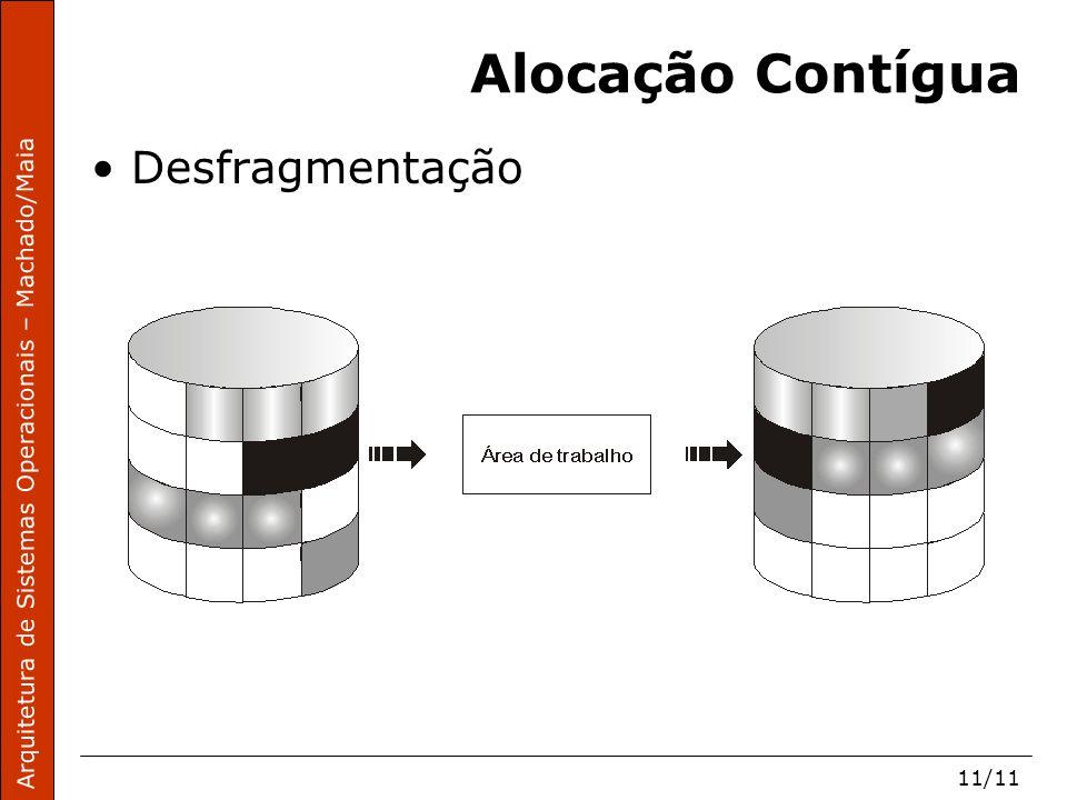 Arquitetura de Sistemas Operacionais – Machado/Maia 11/11 Alocação Contígua Desfragmentação