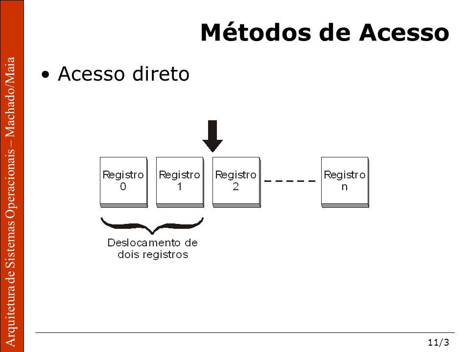 Arquitetura de Sistemas Operacionais – Machado/Maia 11/3 Arquitetura de Sistemas Operacionais – Machado/Maia Métodos de Acesso Acesso direto