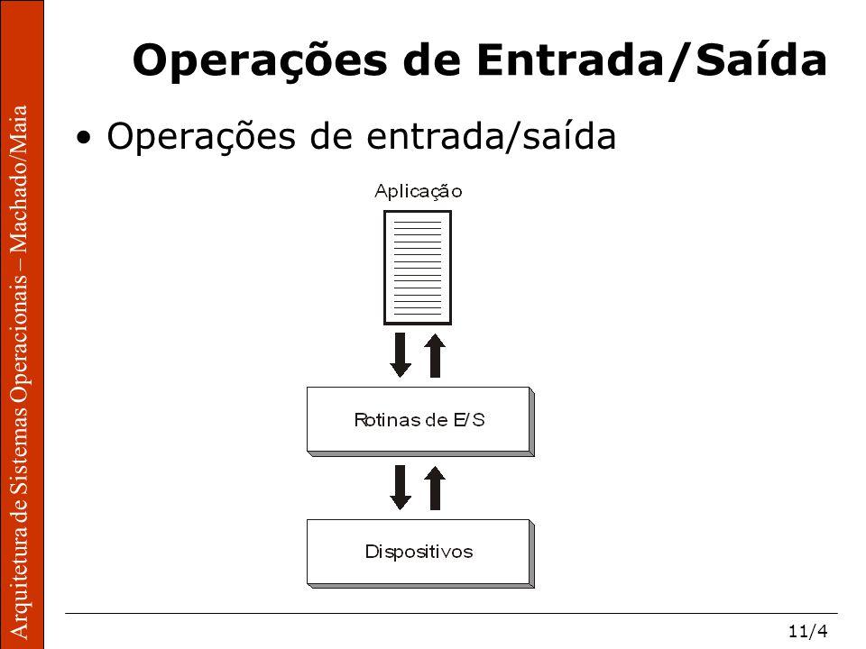 Arquitetura de Sistemas Operacionais – Machado/Maia 11/4 Arquitetura de Sistemas Operacionais – Machado/Maia Operações de Entrada/Saída Operações de entrada/saída