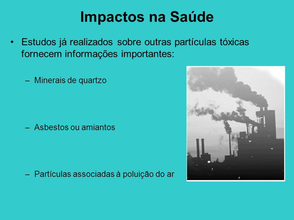Impactos na Saúde Estudos já realizados sobre outras partículas tóxicas fornecem informações importantes: –Minerais de quartzo –Asbestos ou amiantos –Partículas associadas à poluição do ar