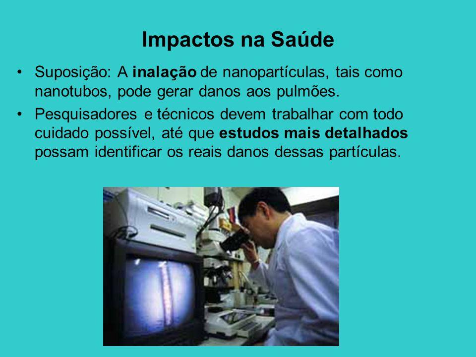 Impactos na Saúde Suposição: A inalação de nanopartículas, tais como nanotubos, pode gerar danos aos pulmões. Pesquisadores e técnicos devem trabalhar