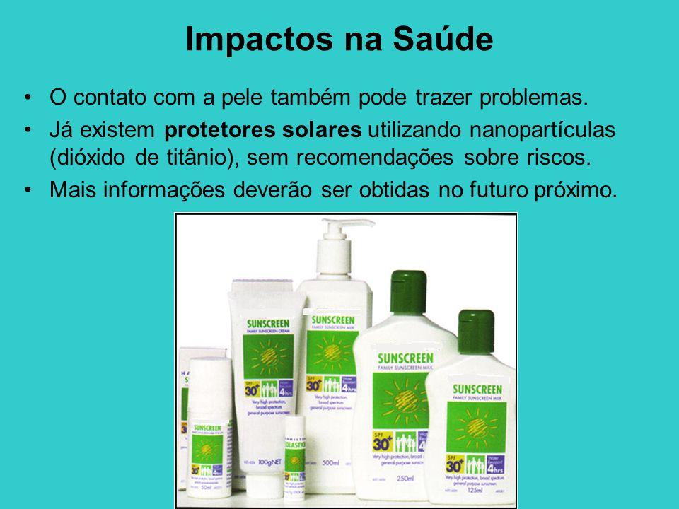 Impactos na Saúde O contato com a pele também pode trazer problemas. Já existem protetores solares utilizando nanopartículas (dióxido de titânio), sem