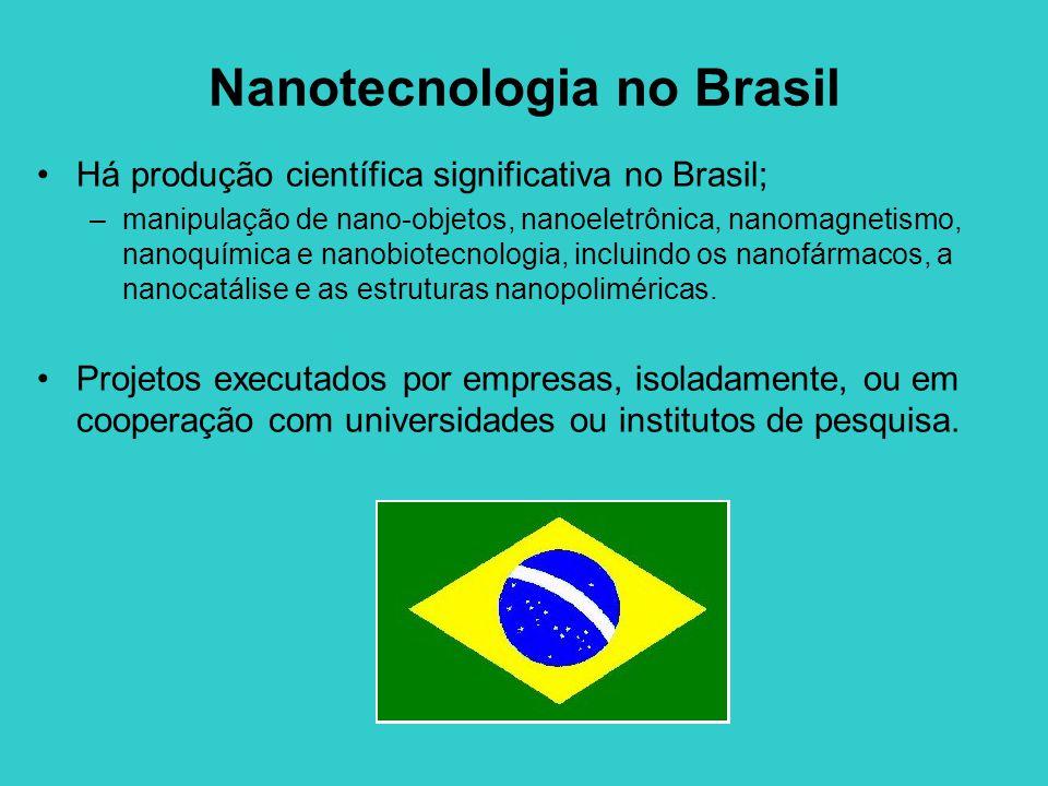 Nanotecnologia no Brasil Há produção científica significativa no Brasil; –manipulação de nano-objetos, nanoeletrônica, nanomagnetismo, nanoquímica e nanobiotecnologia, incluindo os nanofármacos, a nanocatálise e as estruturas nanopoliméricas.