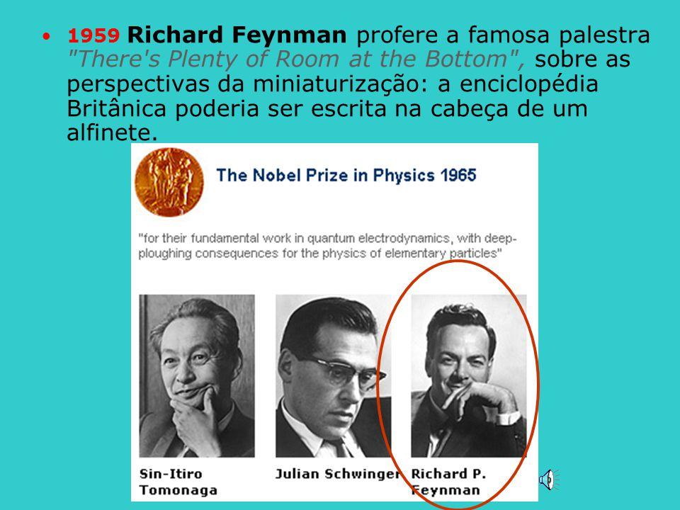 1959 Richard Feynman profere a famosa palestra There s Plenty of Room at the Bottom , sobre as perspectivas da miniaturização: a enciclopédia Britânica poderia ser escrita na cabeça de um alfinete.