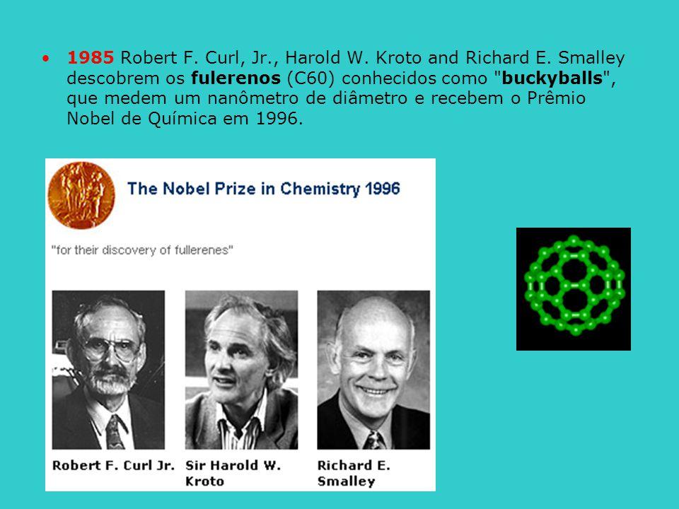 1985 Robert F. Curl, Jr., Harold W. Kroto and Richard E. Smalley descobrem os fulerenos (C60) conhecidos como