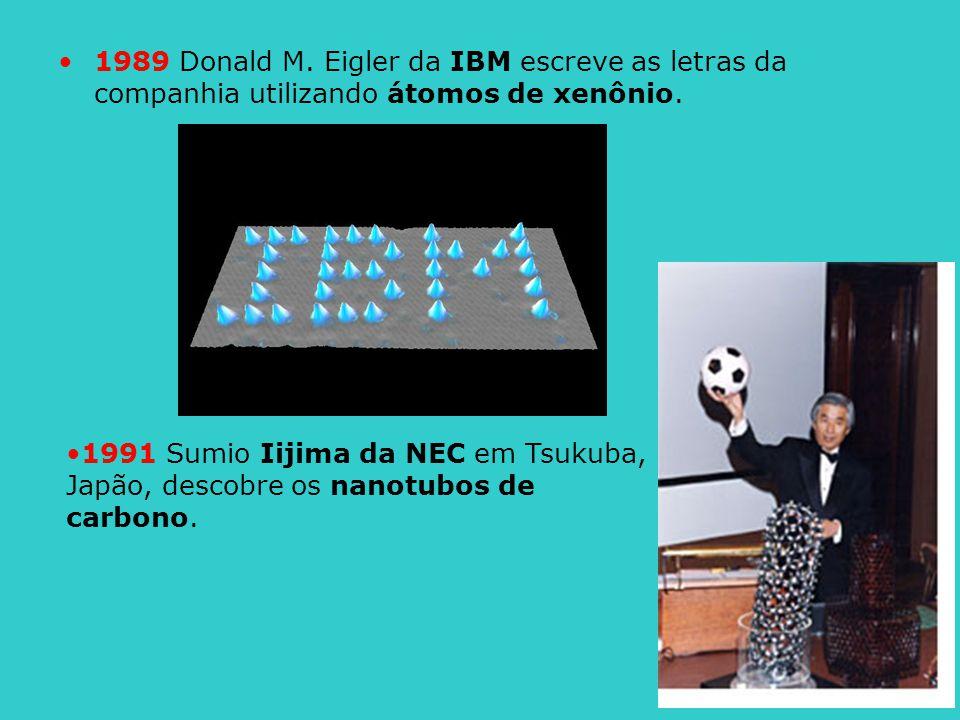 1989 Donald M. Eigler da IBM escreve as letras da companhia utilizando átomos de xenônio. 1991 Sumio Iijima da NEC em Tsukuba, Japão, descobre os nano