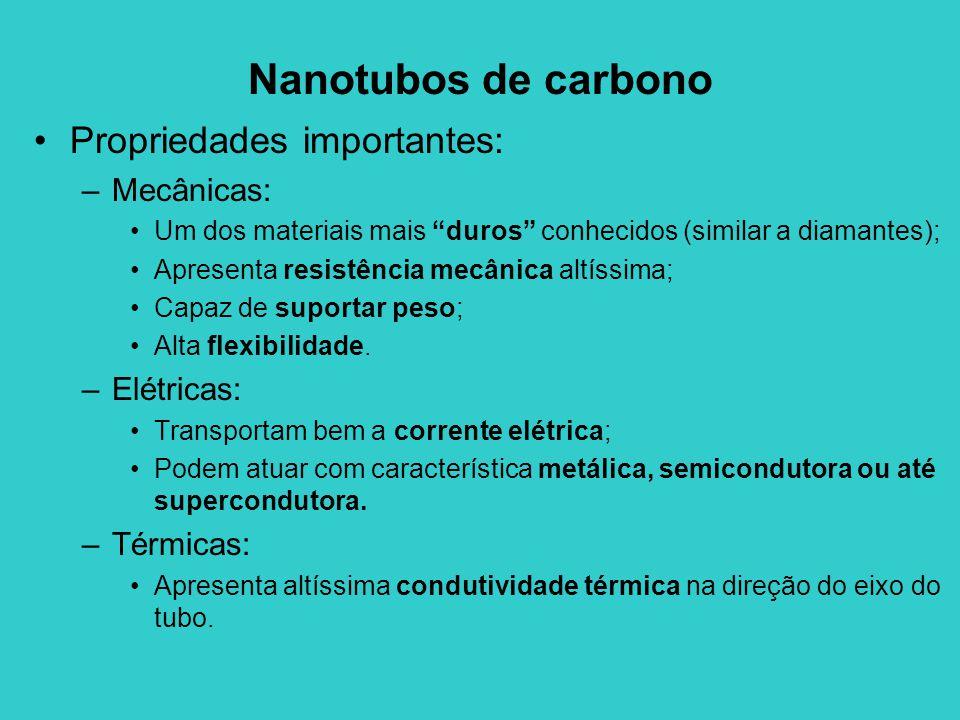 Nanotubos de carbono Propriedades importantes: –Mecânicas: Um dos materiais mais duros conhecidos (similar a diamantes); Apresenta resistência mecânica altíssima; Capaz de suportar peso; Alta flexibilidade.