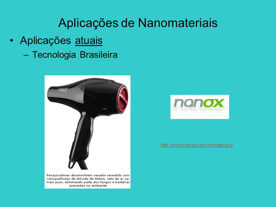Aplicações de Nanomateriais Aplicações atuais –Tecnologia Brasileira http://www.nanox.com.br/index.php