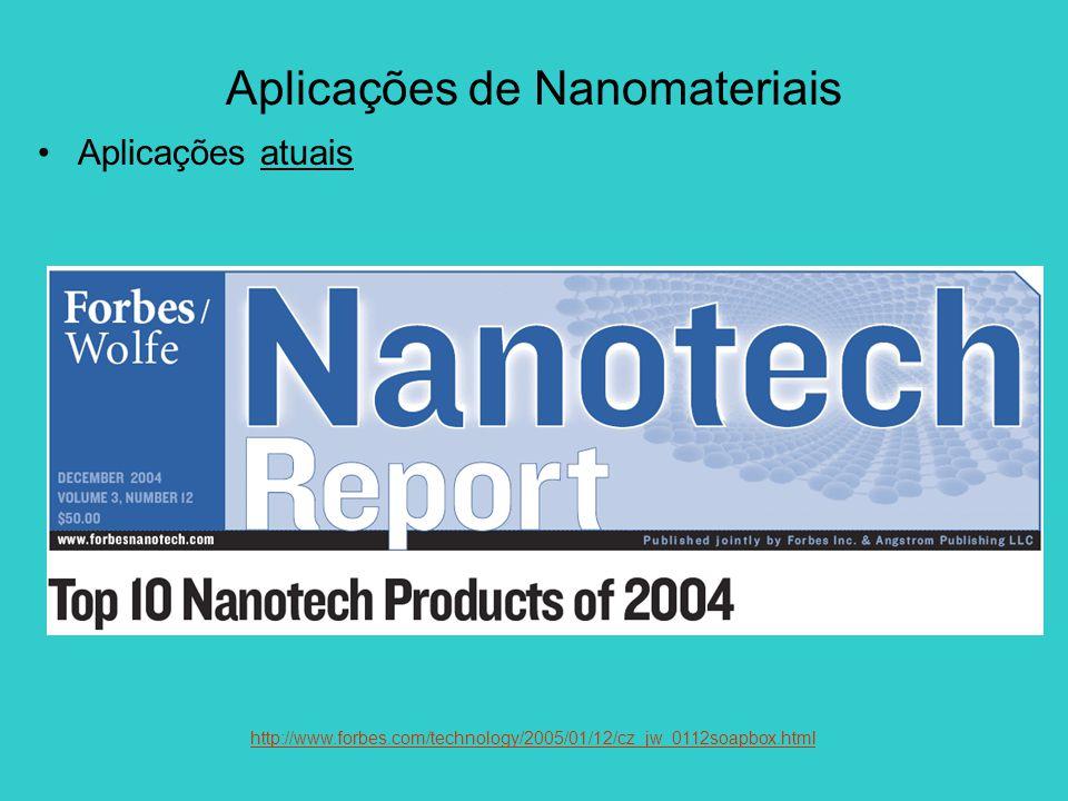 Aplicações de Nanomateriais Aplicações atuais http://www.forbes.com/technology/2005/01/12/cz_jw_0112soapbox.html