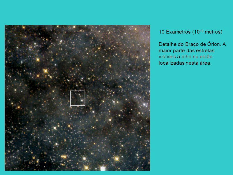 10 Exametros (10 19 metros) Detalhe do Braço de Órion. A maior parte das estrelas visíveis a olho nu estão localizadas nesta área.