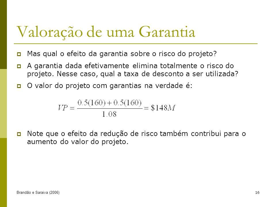Brandão e Saraiva (2006)16 Mas qual o efeito da garantia sobre o risco do projeto? A garantia dada efetivamente elimina totalmente o risco do projeto.