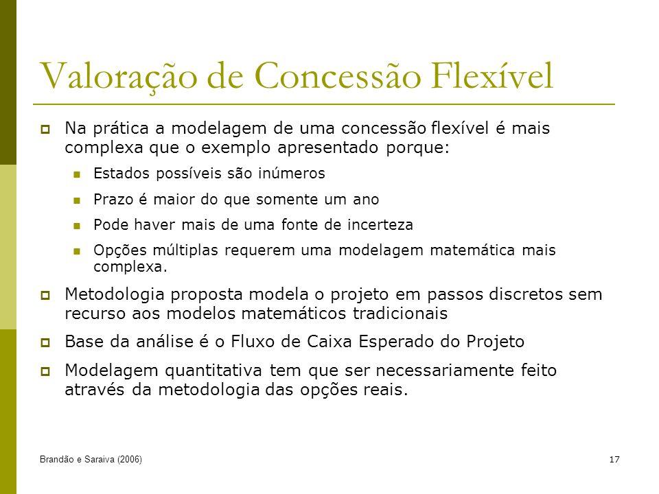 Brandão e Saraiva (2006)17 Valoração de Concessão Flexível Na prática a modelagem de uma concessão flexível é mais complexa que o exemplo apresentado