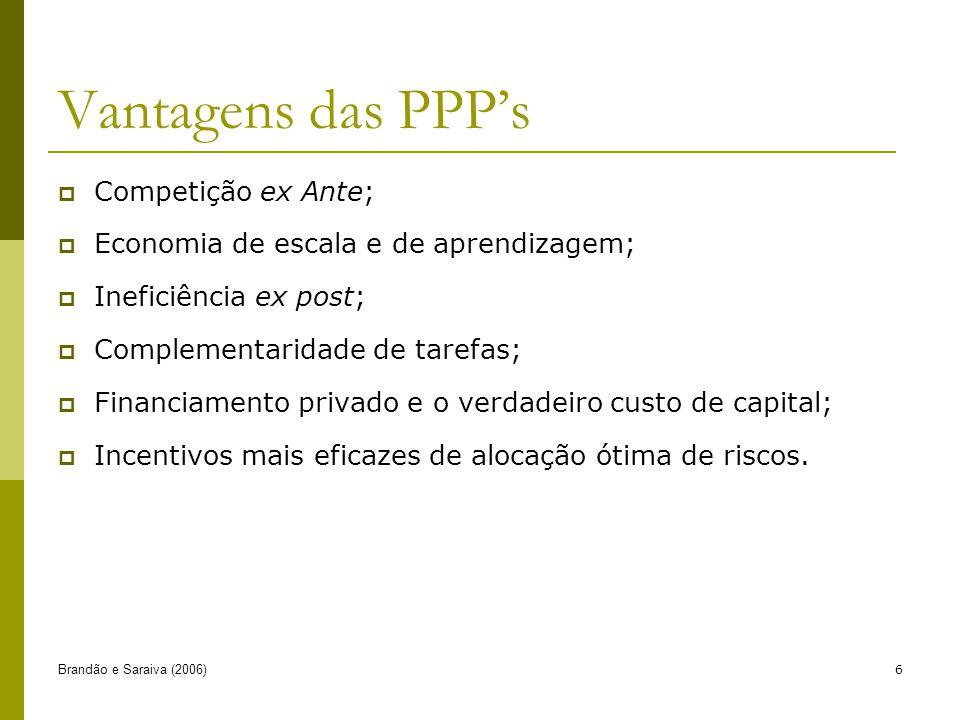 Brandão e Saraiva (2006)6 Vantagens das PPPs Competição ex Ante; Economia de escala e de aprendizagem; Ineficiência ex post; Complementaridade de tarefas; Financiamento privado e o verdadeiro custo de capital; Incentivos mais eficazes de alocação ótima de riscos.