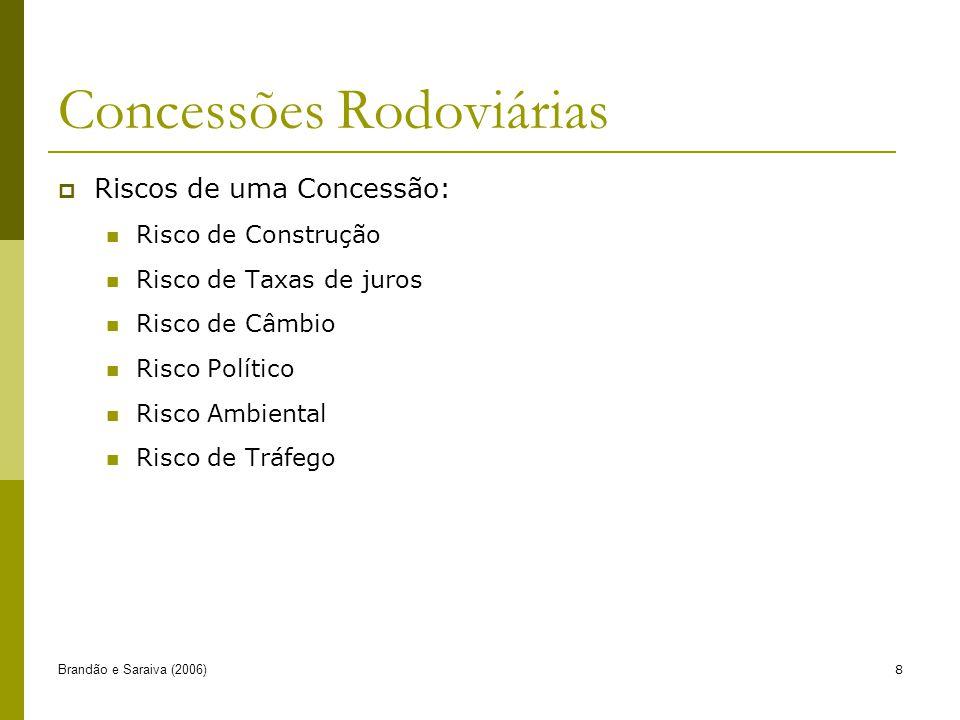 Brandão e Saraiva (2006)8 Concessões Rodoviárias Riscos de uma Concessão: Risco de Construção Risco de Taxas de juros Risco de Câmbio Risco Político Risco Ambiental Risco de Tráfego