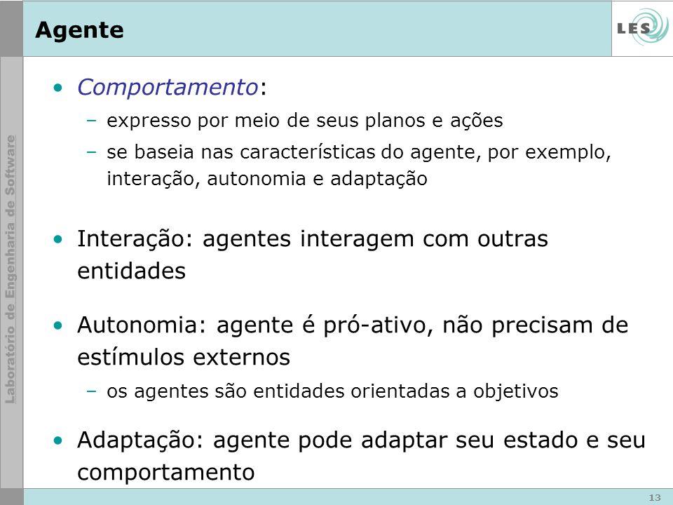 13 Agente Comportamento: –expresso por meio de seus planos e ações –se baseia nas características do agente, por exemplo, interação, autonomia e adapt