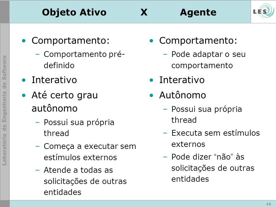 16 Objeto Ativo XAgente Comportamento: –Comportamento pré- definido Interativo Até certo grau autônomo –Possui sua própria thread –Começa a executar s