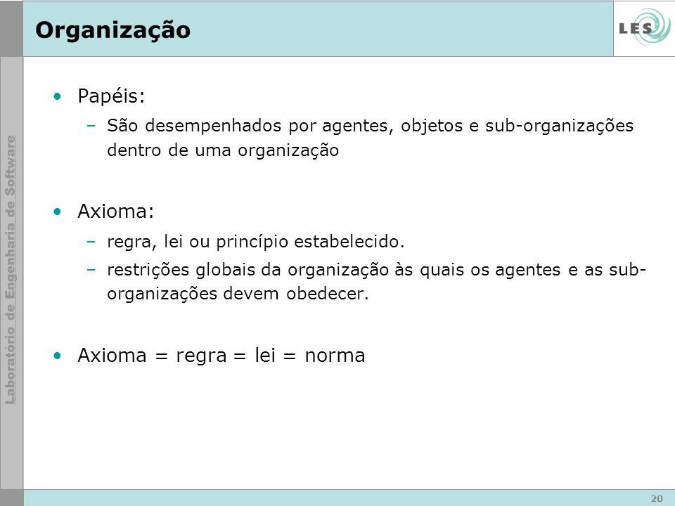 20 Organização Papéis: –São desempenhados por agentes, objetos e sub-organizações dentro de uma organização Axioma: –regra, lei ou princípio estabelecido.