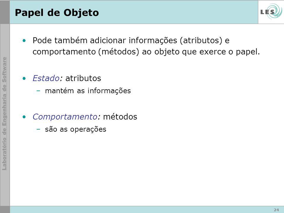 24 Papel de Objeto Pode também adicionar informações (atributos) e comportamento (métodos) ao objeto que exerce o papel.