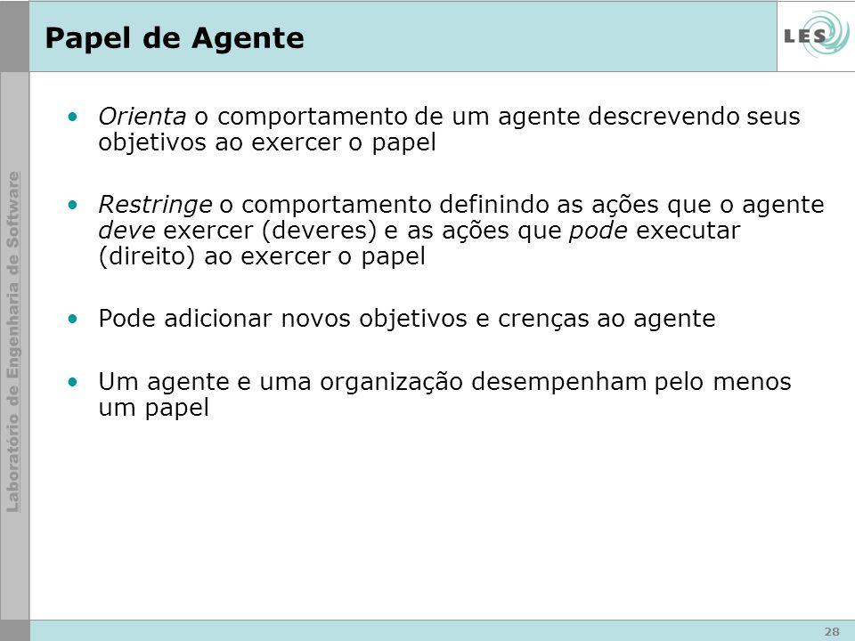 28 Papel de Agente Orienta o comportamento de um agente descrevendo seus objetivos ao exercer o papel Restringe o comportamento definindo as ações que