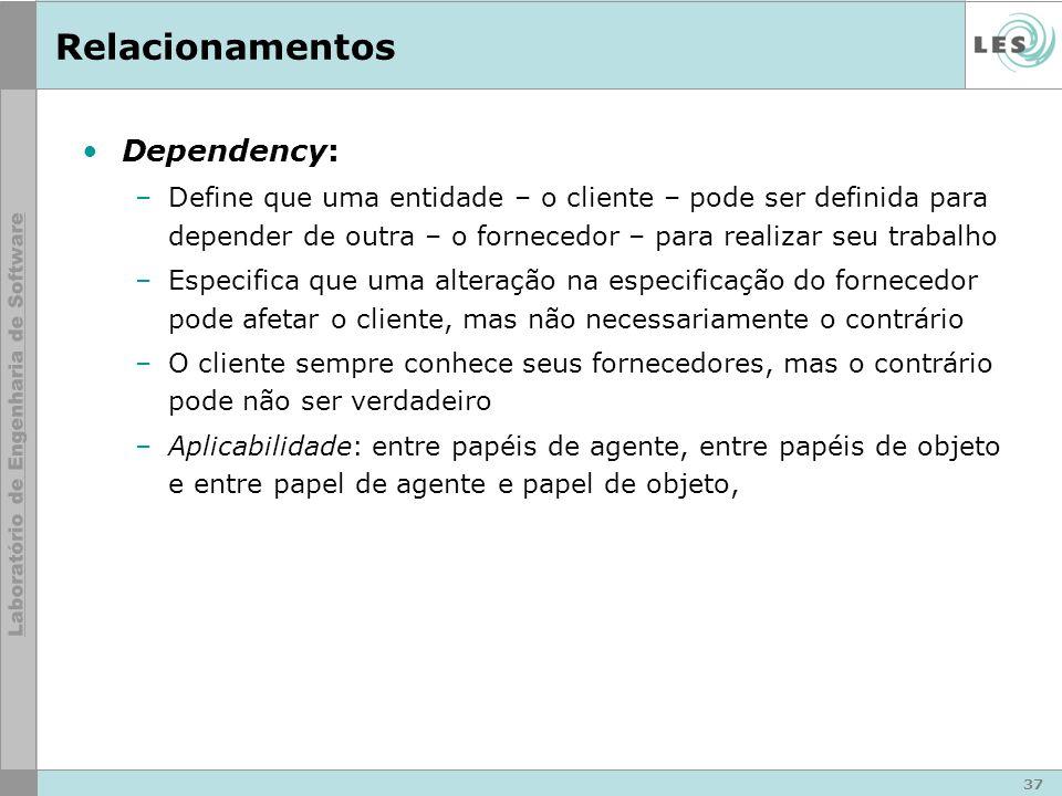 37 Relacionamentos Dependency: –Define que uma entidade – o cliente – pode ser definida para depender de outra – o fornecedor – para realizar seu trab