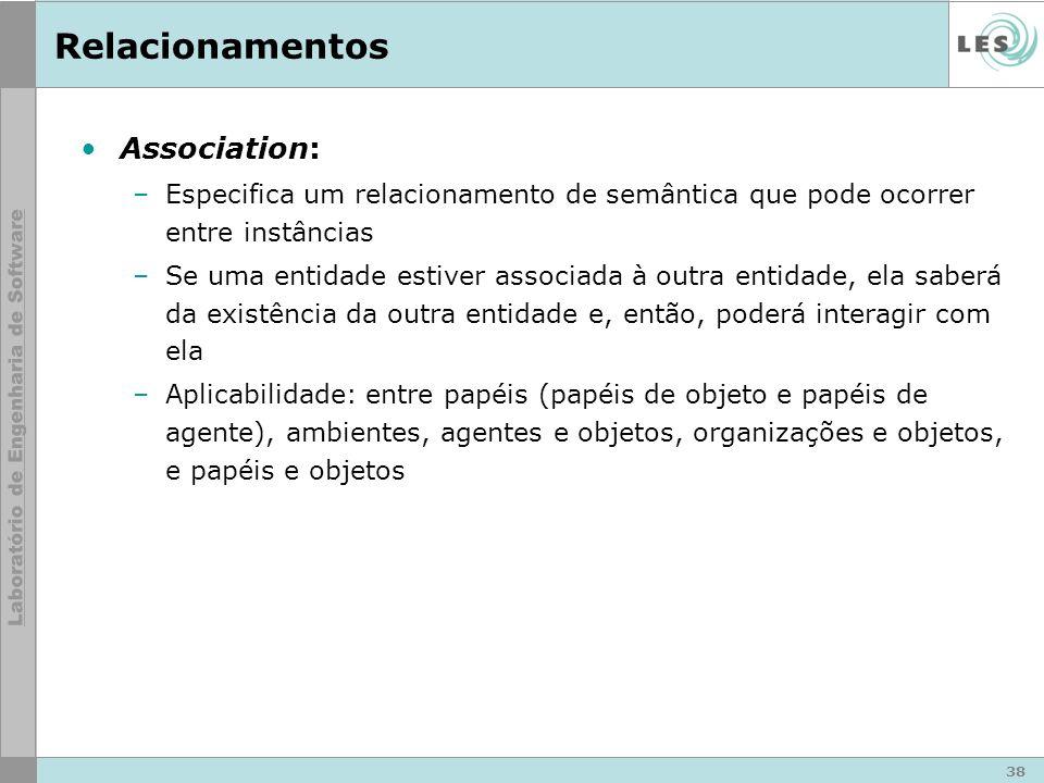 38 Relacionamentos Association: –Especifica um relacionamento de semântica que pode ocorrer entre instâncias –Se uma entidade estiver associada à outr
