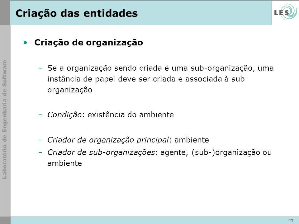 47 Criação das entidades Criação de organização –Se a organização sendo criada é uma sub-organização, uma instância de papel deve ser criada e associa
