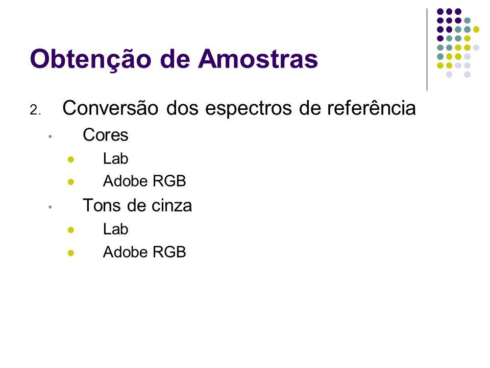 Obtenção de Amostras 2. Conversão dos espectros de referência Cores Lab Adobe RGB Tons de cinza Lab Adobe RGB