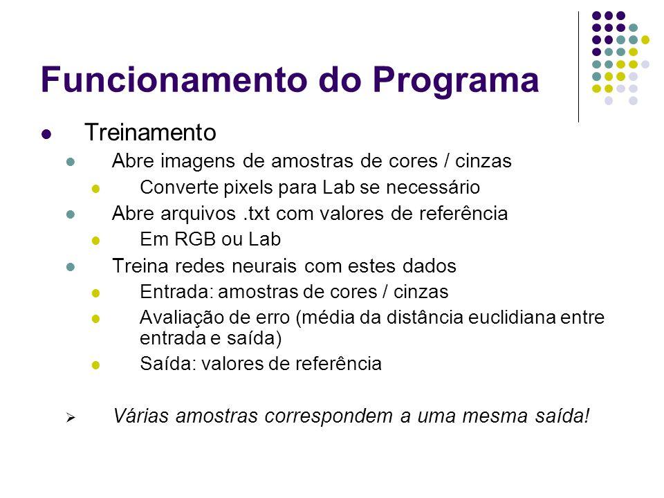 Funcionamento do Programa Treinamento Abre imagens de amostras de cores / cinzas Converte pixels para Lab se necessário Abre arquivos.txt com valores