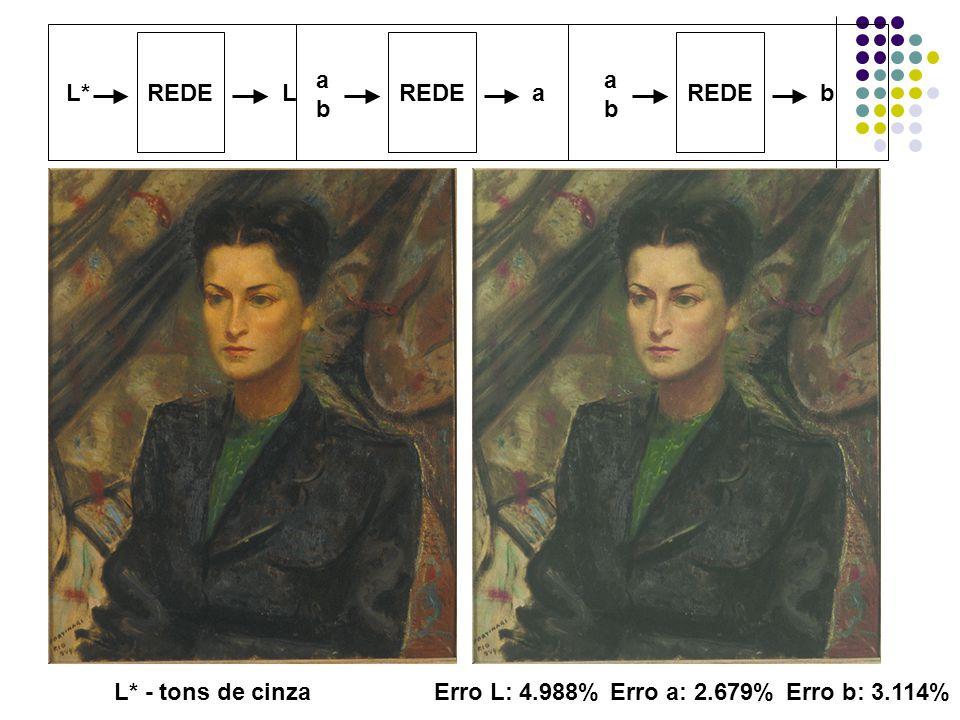 REDE L*L L* - tons de cinzaErro L: 4.988% REDE abab a b abab Erro a: 2.679%Erro b: 3.114%