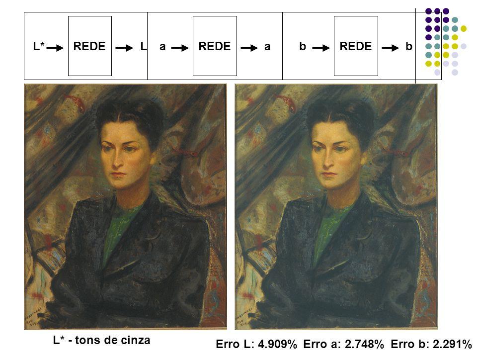 REDE L*L REDE aa bb L* - tons de cinza Erro L: 4.909%Erro a: 2.748%Erro b: 2.291%