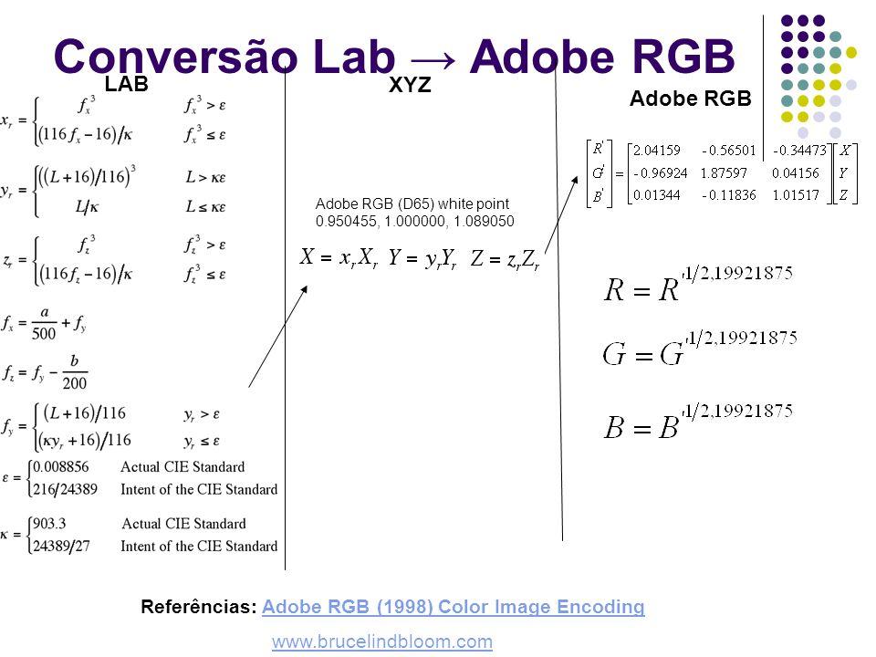 Conversão Lab Adobe RGB Referências: Adobe RGB (1998) Color Image EncodingAdobe RGB (1998) Color Image Encoding www.brucelindbloom.com Adobe RGB XYZ L