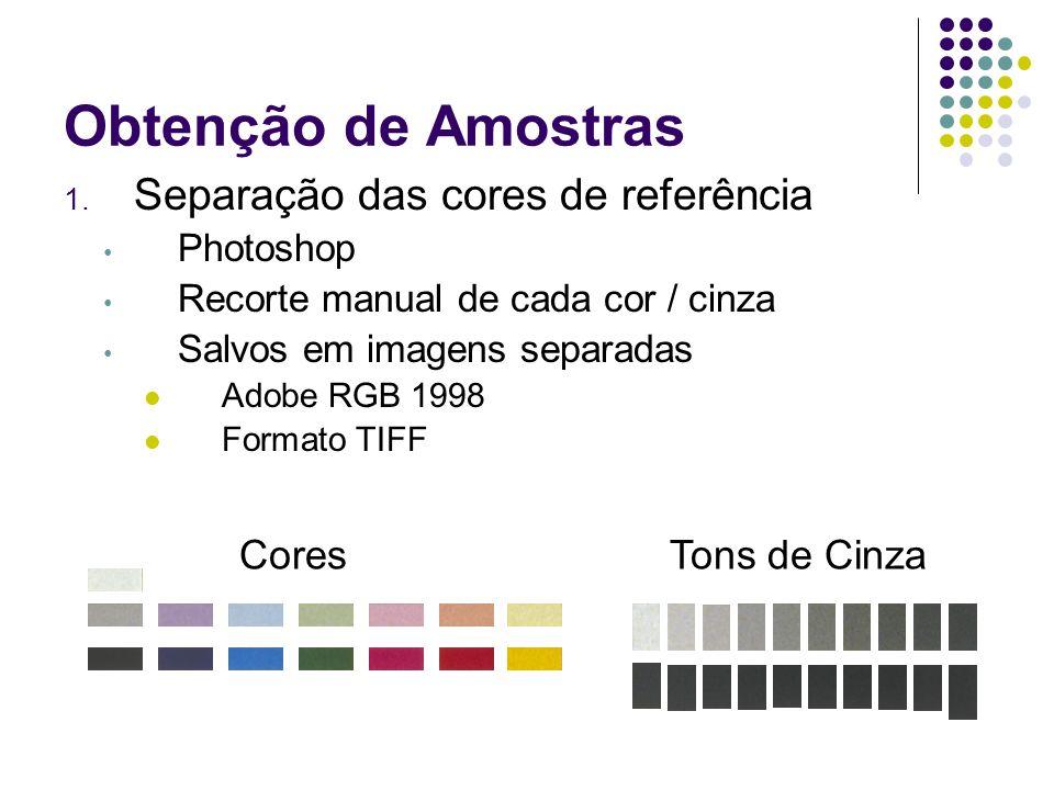 Obtenção de Amostras 1. Separação das cores de referência Photoshop Recorte manual de cada cor / cinza Salvos em imagens separadas Adobe RGB 1998 Form