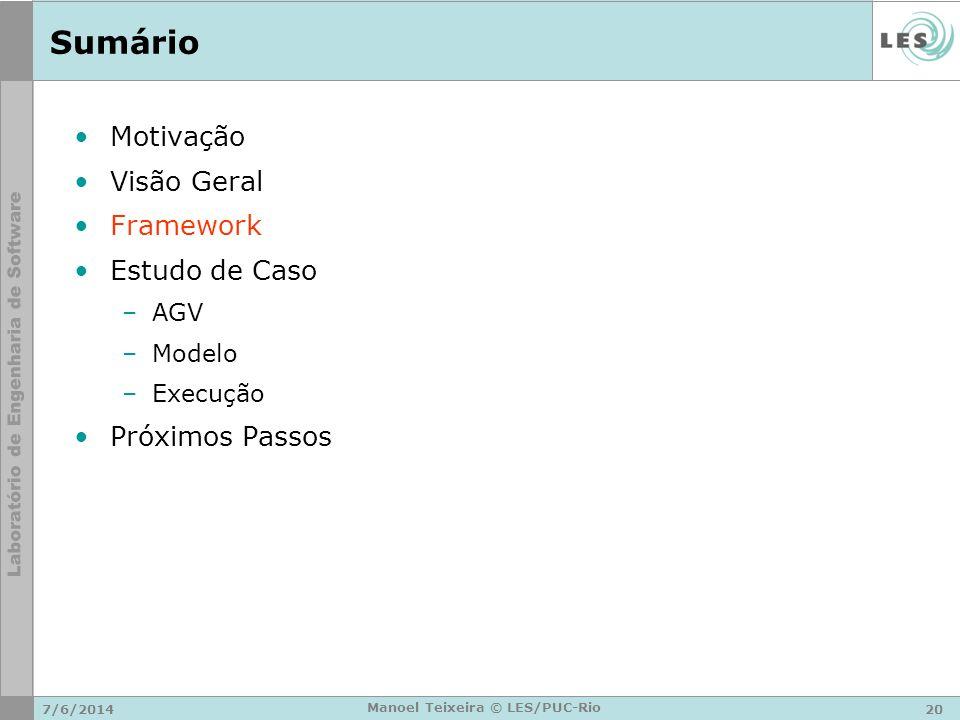 7/6/201420 Manoel Teixeira © LES/PUC-Rio Sumário Motivação Visão Geral Framework Estudo de Caso –AGV –Modelo –Execução Próximos Passos