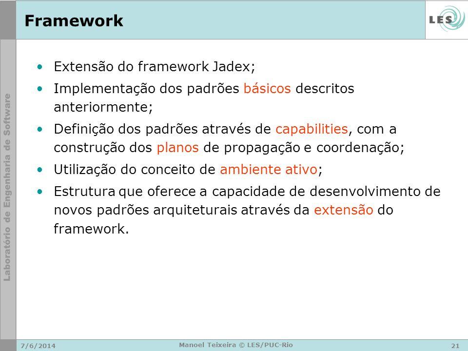 7/6/201421 Manoel Teixeira © LES/PUC-Rio Framework Extensão do framework Jadex; Implementação dos padrões básicos descritos anteriormente; Definição d