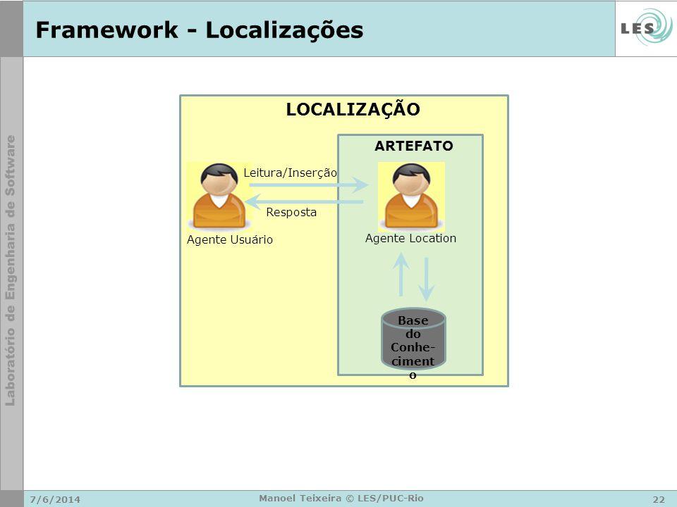 Framework - Localizações 7/6/201422 Manoel Teixeira © LES/PUC-Rio LOCALIZAÇÃO ARTEFATO Agente Location Base do Conhe- ciment o Leitura/Inserção Respos