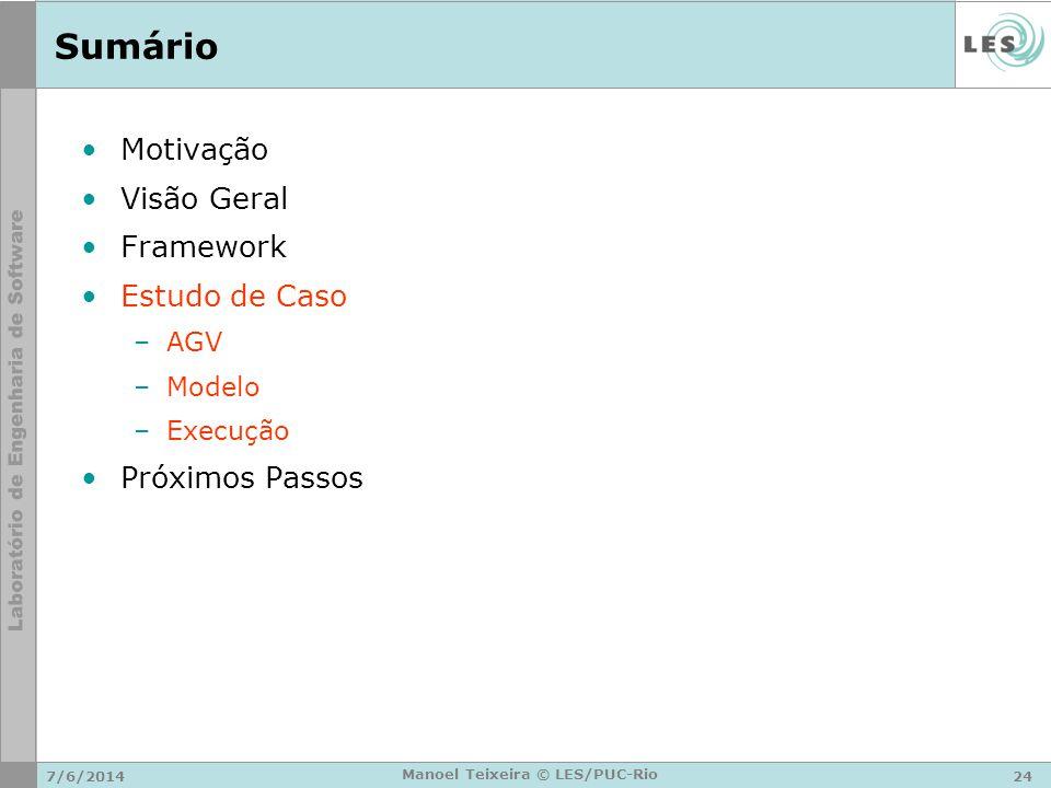 7/6/201424 Manoel Teixeira © LES/PUC-Rio Sumário Motivação Visão Geral Framework Estudo de Caso –AGV –Modelo –Execução Próximos Passos