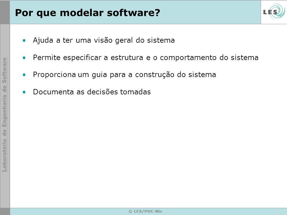 © LES/PUC-Rio Por que modelar software? Ajuda a ter uma visão geral do sistema Permite especificar a estrutura e o comportamento do sistema Proporcion