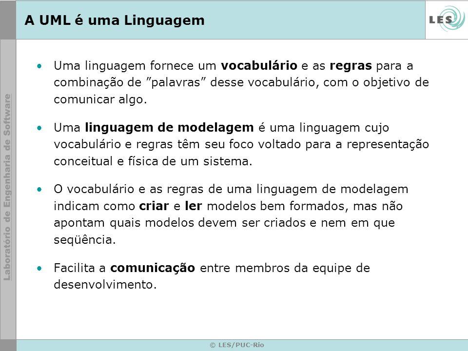 © LES/PUC-Rio A UML é uma Linguagem Uma linguagem fornece um vocabulário e as regras para a combinação de palavras desse vocabulário, com o objetivo d
