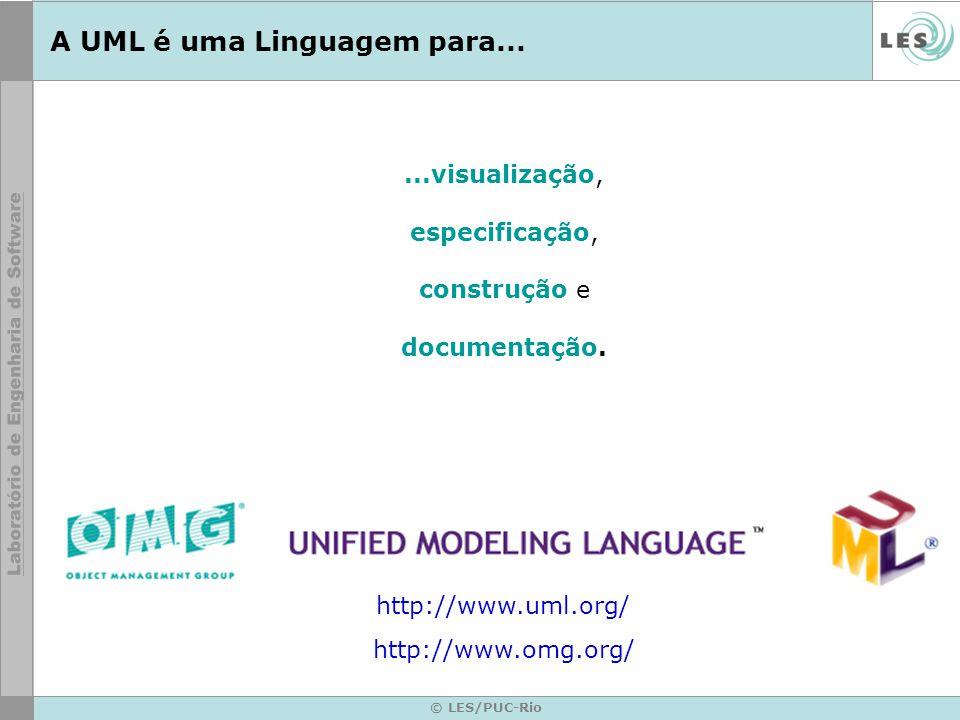 © LES/PUC-Rio A UML é uma Linguagem para......visualização, especificação, construção e documentação. http://www.uml.org/ http://www.omg.org/