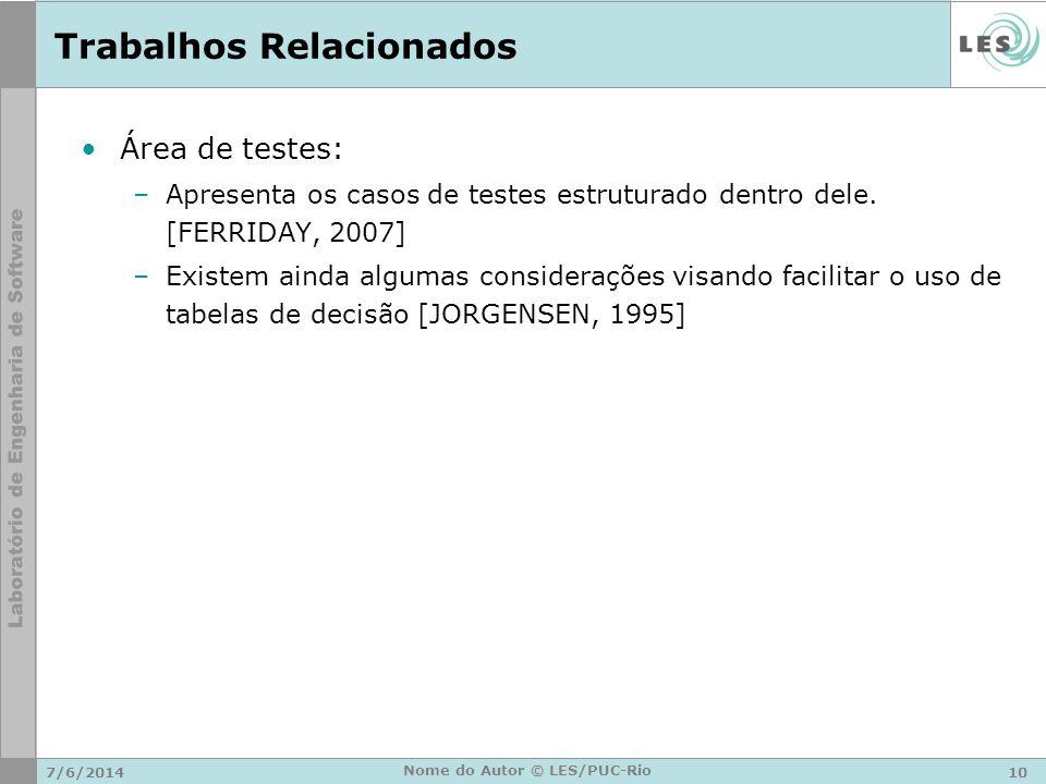 Trabalhos Relacionados Área de testes: –Apresenta os casos de testes estruturado dentro dele. [FERRIDAY, 2007] –Existem ainda algumas considerações vi