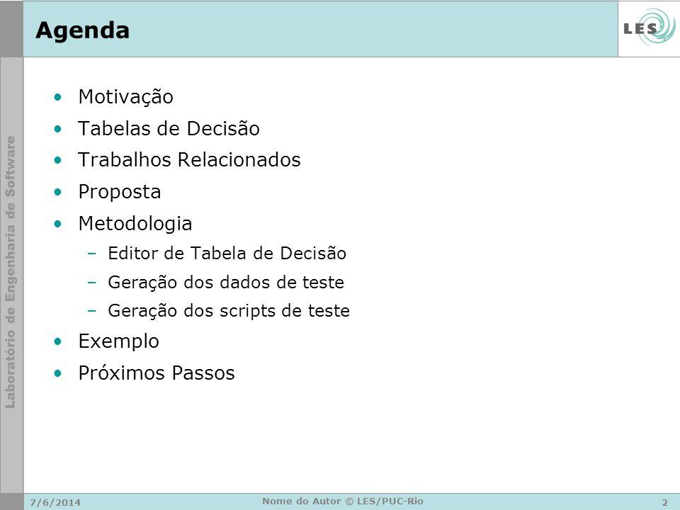 Agenda Motivação Tabelas de Decisão Trabalhos Relacionados Proposta Metodologia –Editor de Tabela de Decisão –Geração dos dados de teste –Geração dos