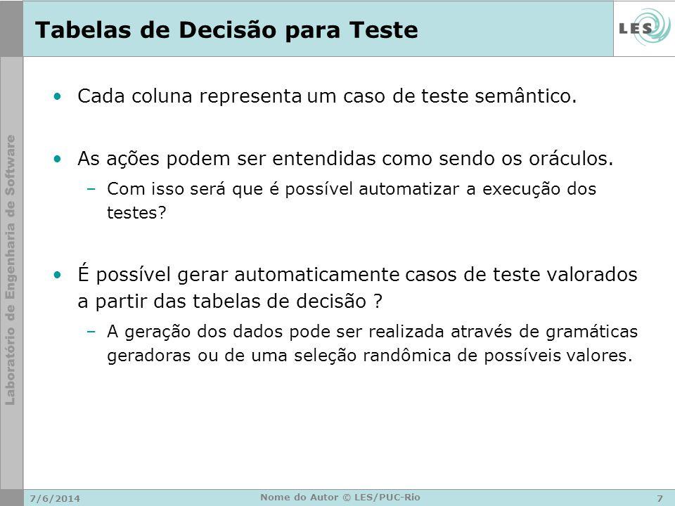 Tabelas de Decisão para Teste Vantagens –Garante a completeza e não ambigüidade –Forma mais simples de planejamento –Visualização simplificada 7/6/20148 Nome do Autor © LES/PUC-Rio