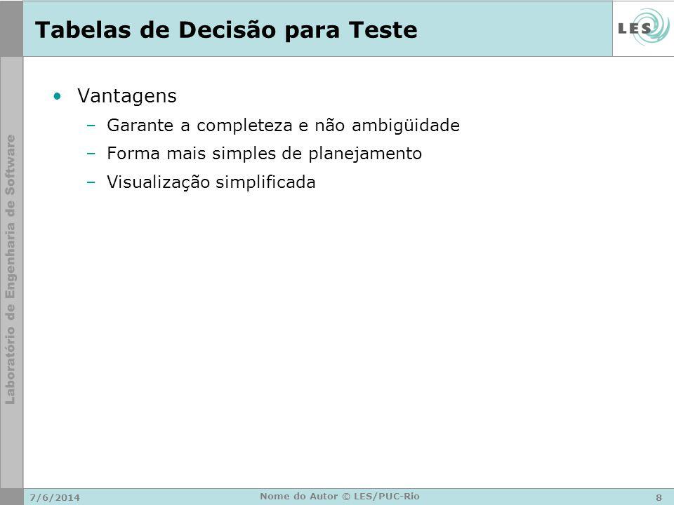 Tabelas de Decisão para Teste Vantagens –Garante a completeza e não ambigüidade –Forma mais simples de planejamento –Visualização simplificada 7/6/201