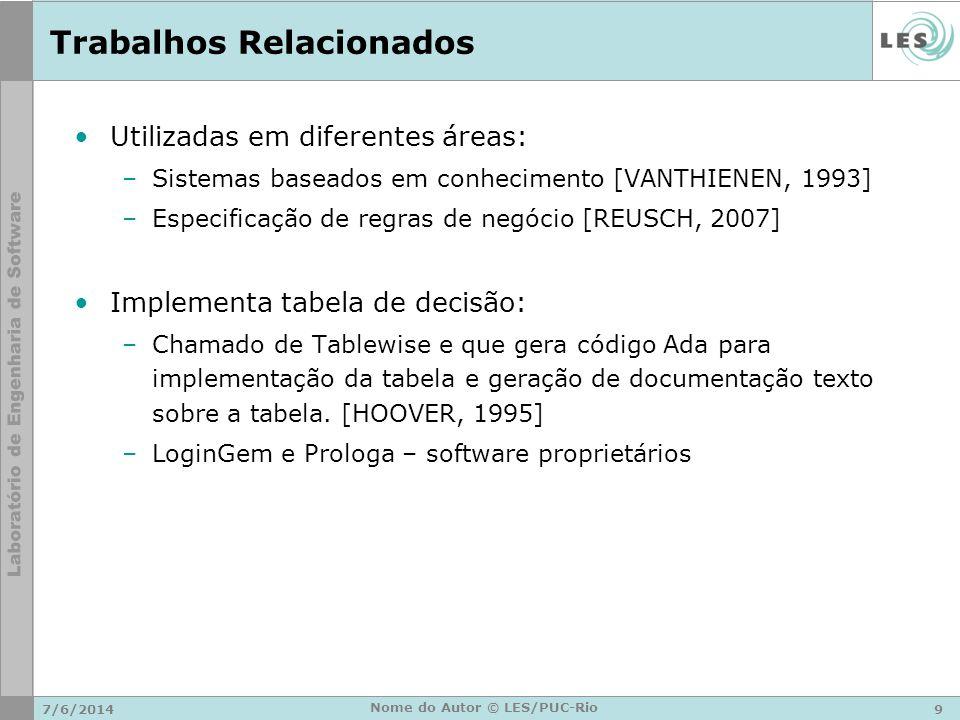 Trabalhos Relacionados Utilizadas em diferentes áreas: –Sistemas baseados em conhecimento [VANTHIENEN, 1993] –Especificação de regras de negócio [REUS