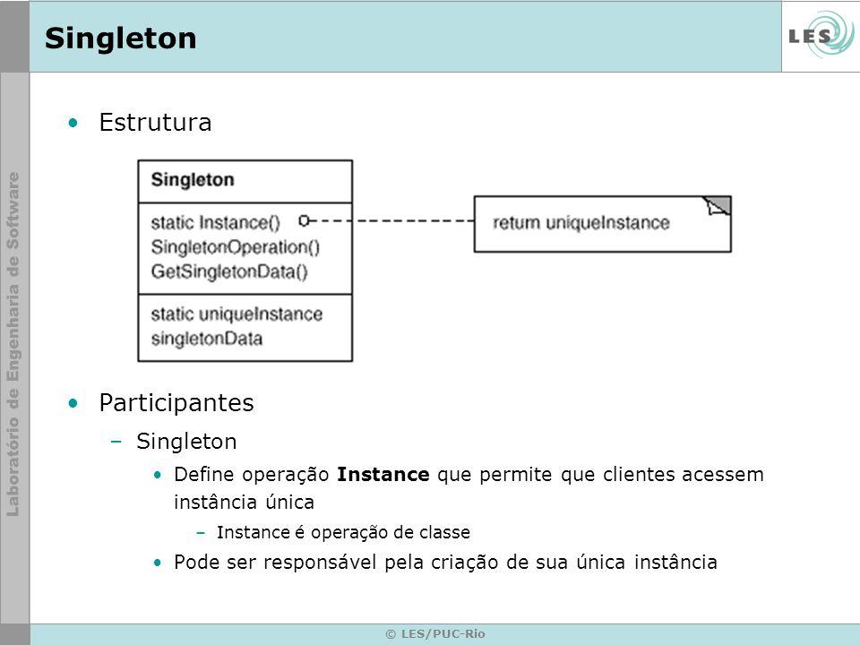 © LES/PUC-Rio Singleton Estrutura Participantes –Singleton Define operação Instance que permite que clientes acessem instância única –Instance é opera