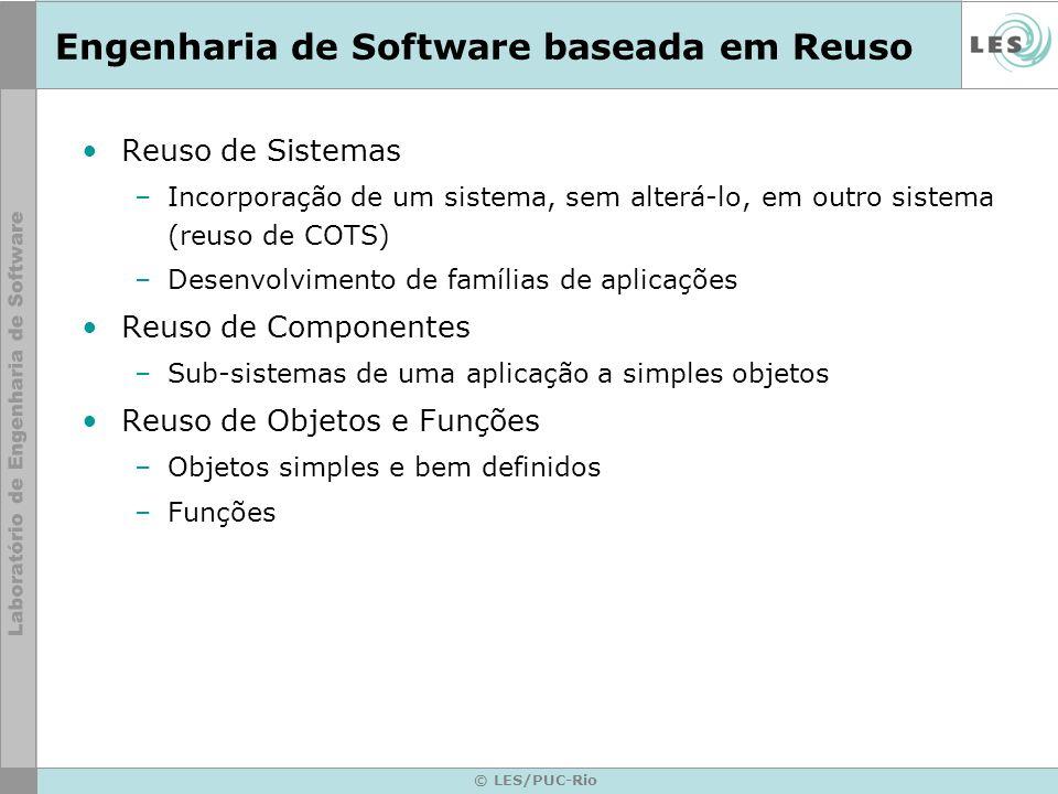 © LES/PUC-Rio Engenharia de Software baseada em Reuso Reuso de Sistemas –Incorporação de um sistema, sem alterá-lo, em outro sistema (reuso de COTS) –