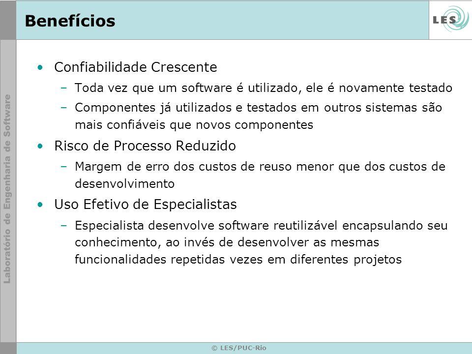 © LES/PUC-Rio Benefícios Confiabilidade Crescente –Toda vez que um software é utilizado, ele é novamente testado –Componentes já utilizados e testados