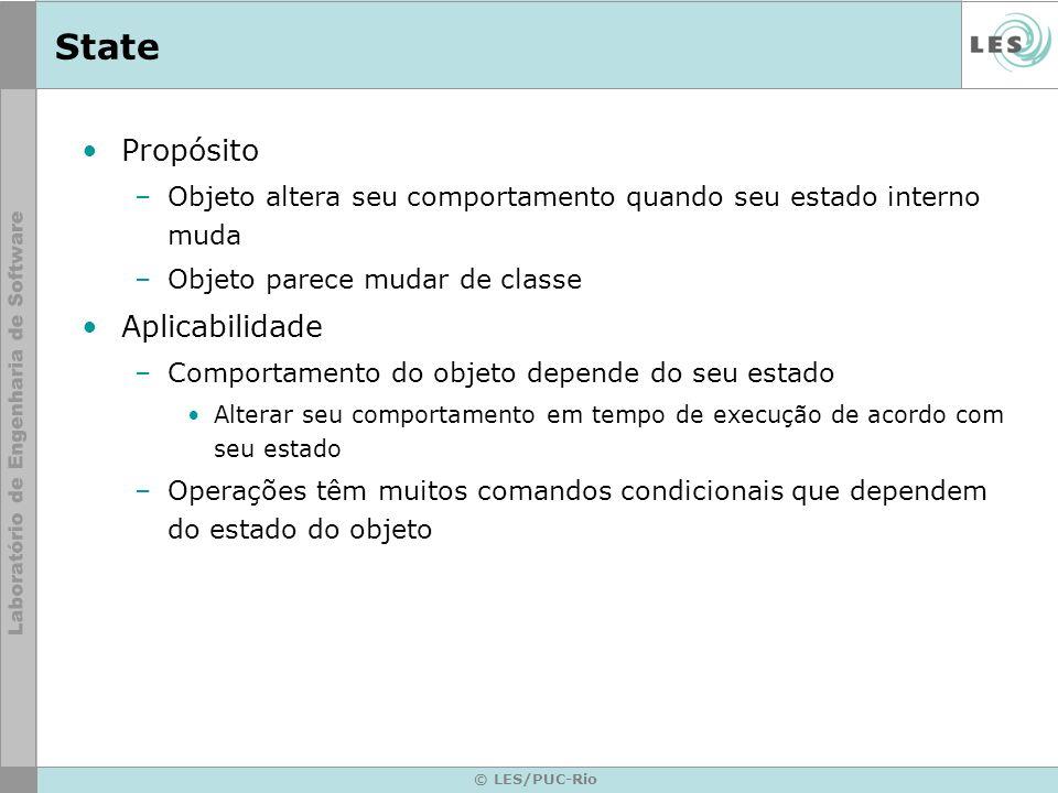 © LES/PUC-Rio State Propósito –Objeto altera seu comportamento quando seu estado interno muda –Objeto parece mudar de classe Aplicabilidade –Comportam